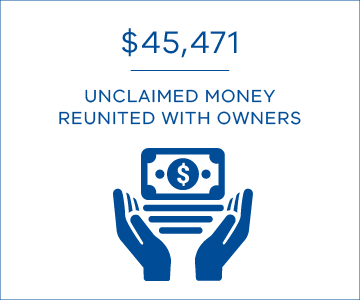 $45,471 in unclaimed money reunited with owners